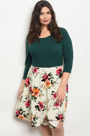 C54-A-3-D11682X GREEN IVORY FLORAL PLUS SIZE DRESS 2-2-1