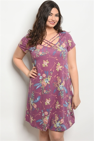 C56-A-2-D13897X PURPLE FLORAL PLUS SIZE DRESS 2-2-2