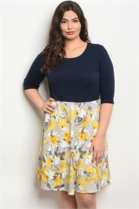 C56-A-2-D13745X NAVY YELLOW FLORAL PLUS SIZE DRESS 2-2-2