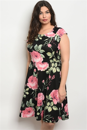 C56-A-2-D12778X BLACK FLORAL PLUS SIZE DRESS 2-2-2