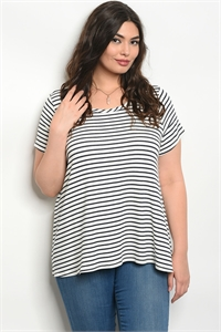 C68-B-1-T8069X IVORY BLACK STRIPES PLUS SIZE TOP 2-2-2