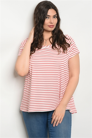 C68-B-5-T8069X IVORY RED STRIPES PLUS SIZE TOP 2-2-2