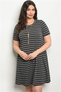 C72-A-5-D130731X CHARCOARL IVORY STRIPES PLUS SIZE DRESS 2-2-2