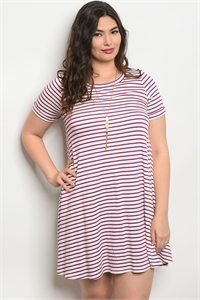 C74-A-6-D130731X IVORY PURPLE STRIPES PLUS SIZE DRESS 2-2-2