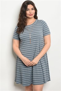C72-A-5-D130731X INDIGO WHITE STRIPES PLUS SIZE DRESS 2-2-2