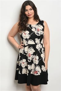 C74-A-6-D121909X BLACK IVORY PLUS SIZE DRESS 2-2-2