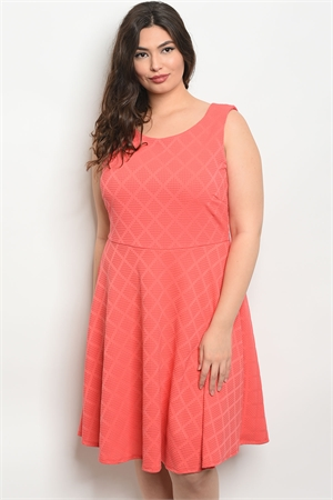 C72-A-6-D95351X CORAL PLUS SIZE DRESS 2-2-2