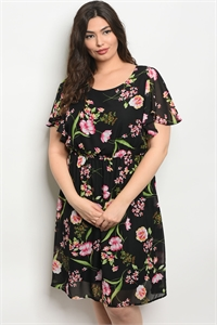 C86-A-6-D12910X BLACK FLORAL PLUS SIZE DRESS 2-2-2