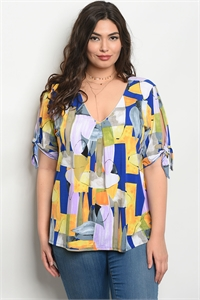 C96-B-1-T8123X MULTI COLOR PLUS SIZE TOP 1-1-2