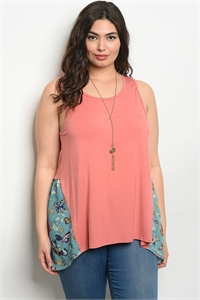 C102-B-2-T66954X PEACH MINT FLORAL PLUS SIZE TOP 2-2-2