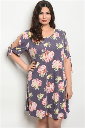 C95-A-5-D13087X LAVENDER FLORAL PLUS SIZE DRESS 2-2-2