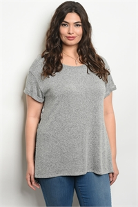C91-A-2-T4081X GRAY BLACK FLORAL PLUS SIZE TOP 2-2-1