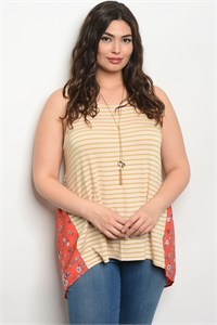C91-A-4-T66955X MUSTARD CORAL PLUS SIZE TOP 2-2-2