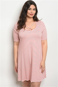 C71-A-1-D13695X IVORY RED STRIPES PLUS SIZE DRESS 2-1-2