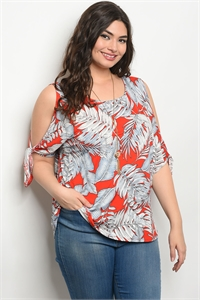 C73-B-3-T76205X RED BLUE PLUS SIZE TOP 2-2-2