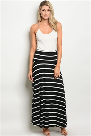 C24-A-2-NA-S0777 BLACK IVORY STRIPES SKIRT 2-2-2