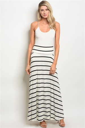 C26-A-4-NA-S0777 IVORY BLACK STRIPES SKIRT 2-2-2
