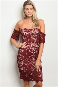 123-3-4-NA-D31169 BURGUNDY NUDE DRESS 1-5-1