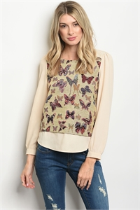 S15-4-3-T9746 BEIGE WITH BUTTERFLY PRINT TOP 2-2-2