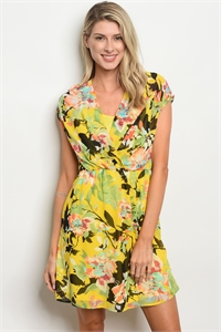 S15-4-4-D15227 YELLOW FLORAL DRESS 2-2-2