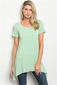 S14-9-6-D14369 MINT IVORY STRIPES TOP 2-2-2