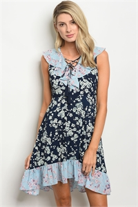123-3-1-D62968 NAVY BLUE FLORAL DRESS 2-2-2