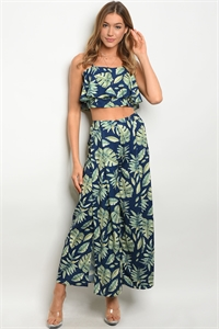 S15-7-5-SET7210 NAVY GREEN PRINT TOP & PANTS SET 2-2-1