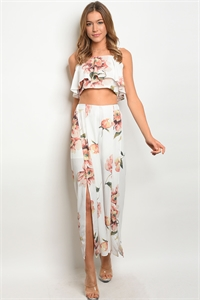 S15-7-1-SET7210 WHITE PEACH FLORAL TOP & PANTS SET 3-2-1