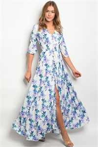 S15-8-1-D8467 WHITE INDIGO FLORAL DRESS 3-2-1