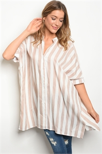 S15-7-2-D7271 TAUPE WHITE STRIPES TOP 3-2-1
