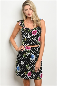 135-2-5-SET32362 BLACK FLORAL WITH DOTS TOP & SKIRT SET / 3PCS