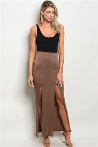 130-2-3-S523 BROWN SKIRT 2-2-2