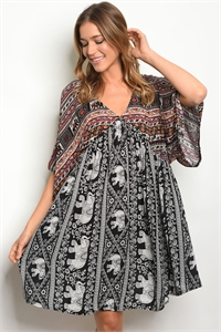 S15-7-4-D148 BLACK MULTY ELEPHANT PRINT DRESS 2-2-2