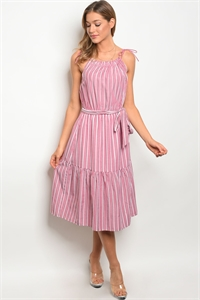 S15-6-3-D62422 RED WHITE STRIPES DRESS 2-2-2