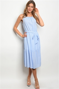 S15-6-3-D62422 BLUE WHITE STRIPES DRESS 2-2-2