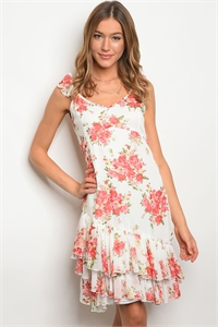S15-3-1-D62189 WHITE PINK FLORAL DRESS 2-2-2