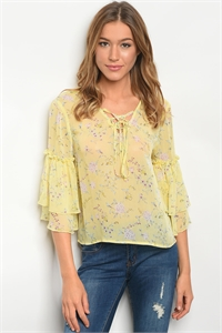 135-3-5-T32124 YELLOW FLORAL TOP 3-2-2