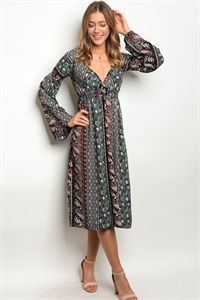 C24-A-2-D8239 BLACK PAISLEY PRINT DRESS 2-2-2