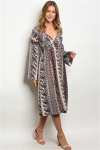 C24-A-5-D8239 TAN PAISLEY PRINT DRESS 2-2-2