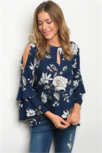 C26-B-4-T9134 NAVY FLORAL TOP 2-2-2