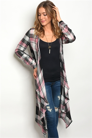 S15-3-1-NA-C10425 BLACK PINK CHECKERS CARDIGAN 2-2-2
