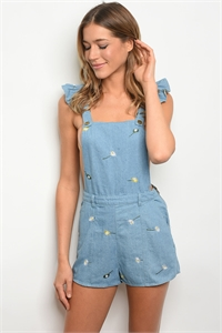 135-3-5-R80818 BLUE DENIM WITH FLOWERS ROMPER 1-2-2