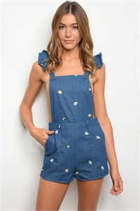 S14-12-2-R80818 INDIGO DENIM WITH FLOWERS ROMPER 2-2-2