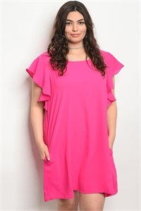 S14-11-3-D42124X FUCHSIA PLUS SIZE DRESS 3-2-1