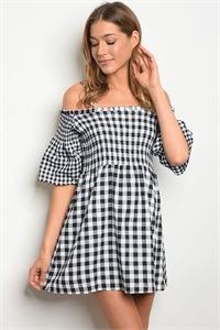 S10-2-2-D42174 BLACK WHITE CHECKERS DRESS 2-2-2
