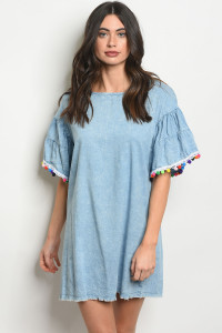 135-2-3-D42102 BLUE DENIM DRESS 2-1-1