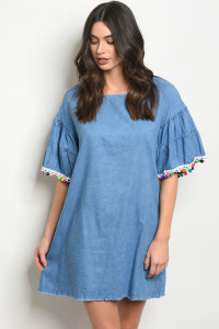 135-2-3-D42102 INDIGO DENIM DRESS 1-1-1