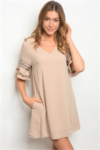 135-3-5-D42292 TAUPE DRESS 3-2-2
