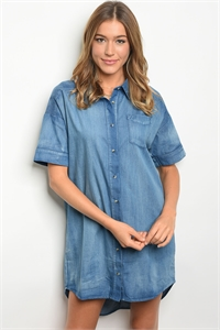 S14-8-6-D42137 INDIGO DENIM DRESS 2-2-2