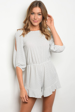 C12-A-4-R9403 OFF WHITE BLACK DOTS ROMPER 2-2-2